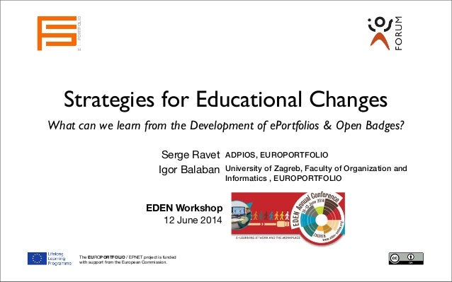 Strategies for Educational Changes What can we learn from the Development of ePortfolios & Open Badges? Serge Ravet EUROPO...