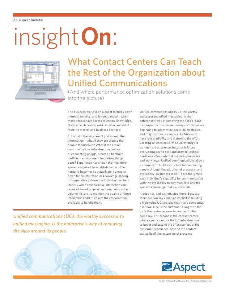 An Aspect Bulletininsighton:                          What Contact Centers Can Teach                          the Rest of ...