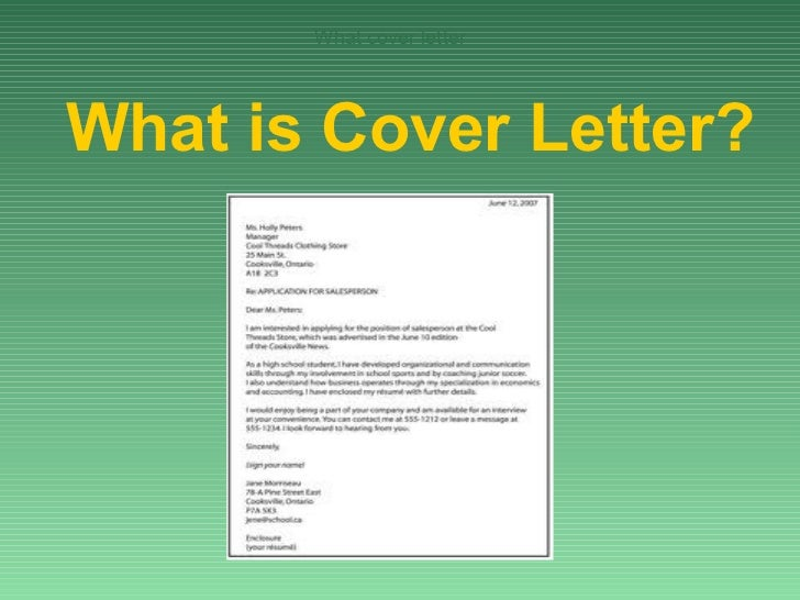 What cover letterWhat is Cover Letter?