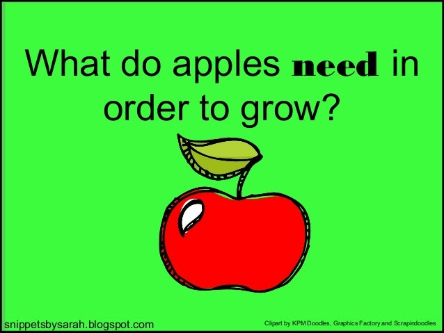 What do apples need in order to grow?  snippetsbysarah.blogspot.com  Clipart by KPM Doodles, Graphics Factory and Scrapind...