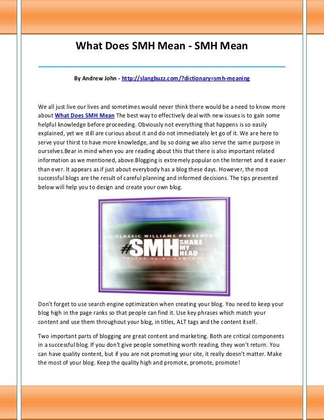 What Does SMH Mean - SMH Mean______________________________________________________________________________              B...