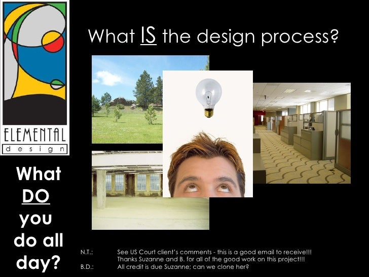 What  IS  the design process? N.T.:  See US Court client's comments - this is a good email to receive!!!    Thanks Suzanne...