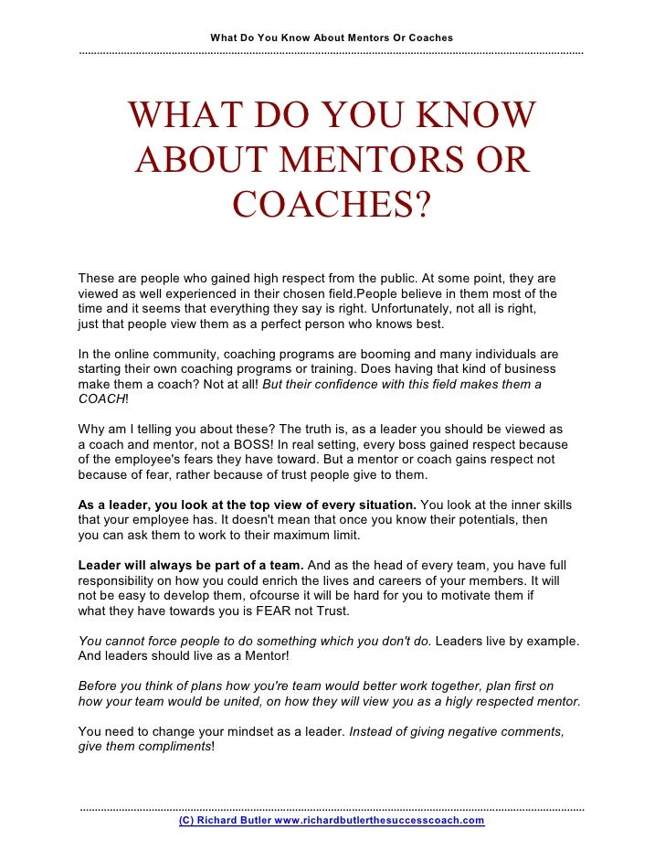 What Do You Know About Mentors Or Coaches ...................................................................................