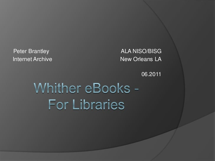 What ebooks mean for Libraries