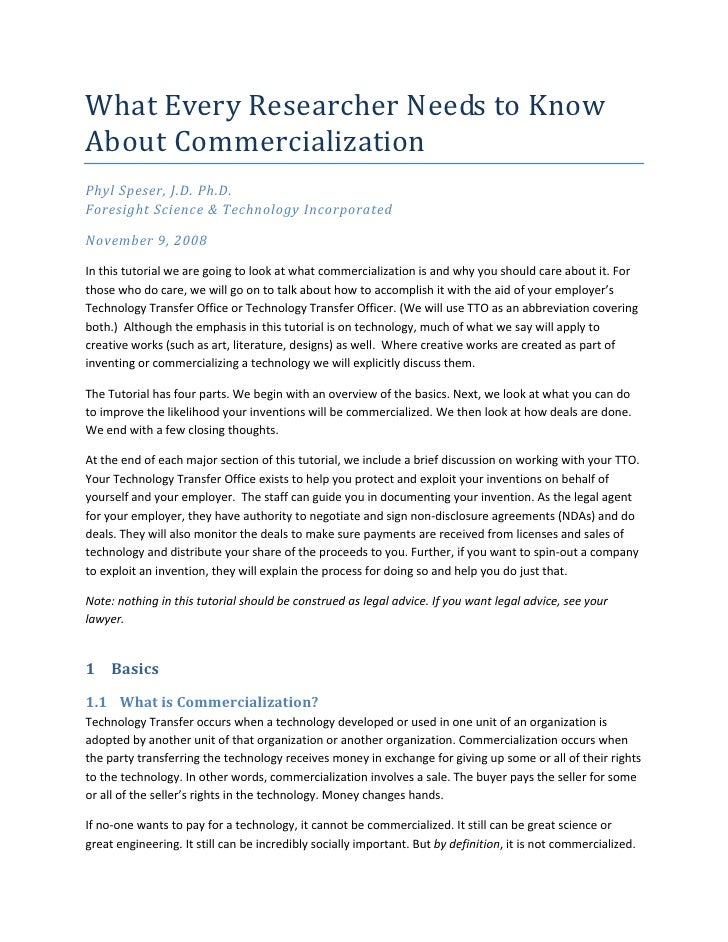 What Every Researcher Needs to Know About Commercialization
