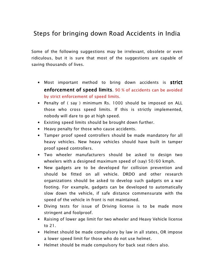 reduce road accidents essay Drug use is increasingly associated with road accidents  awareness that some  drugs affect driving will help to reduce their potential impact.