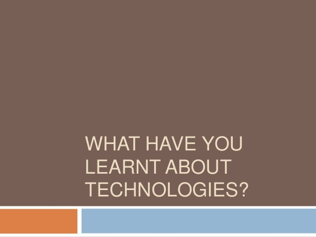 Technology lessons