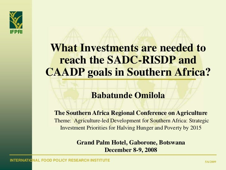 What investments are needed to reach the SADC-RISDP and CAADP goals in Southern Africa?