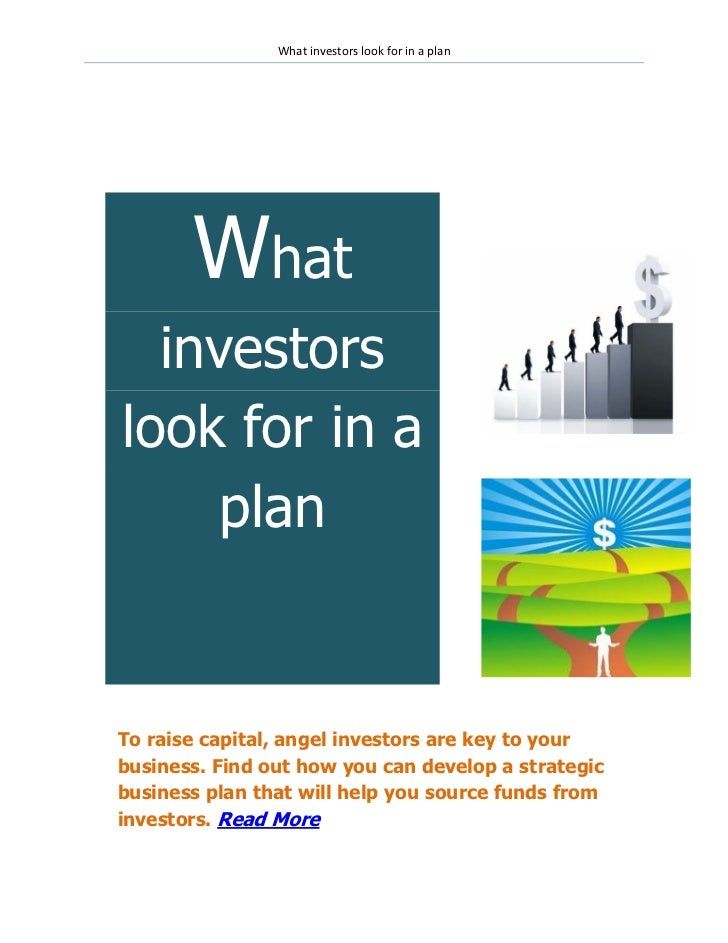 What investors look for in a plan
