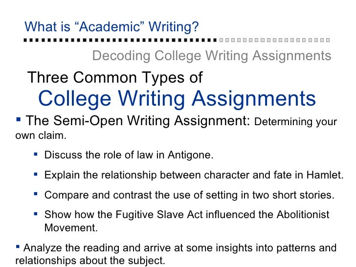 College writing assignments
