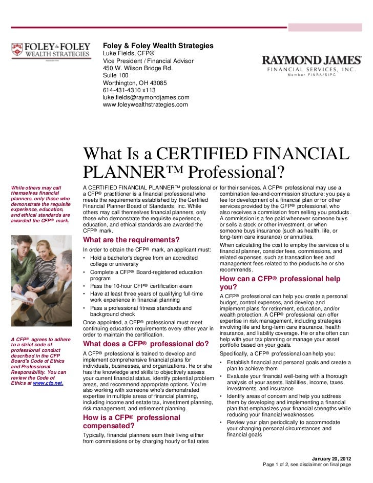 What Is A Certified Financial Planner