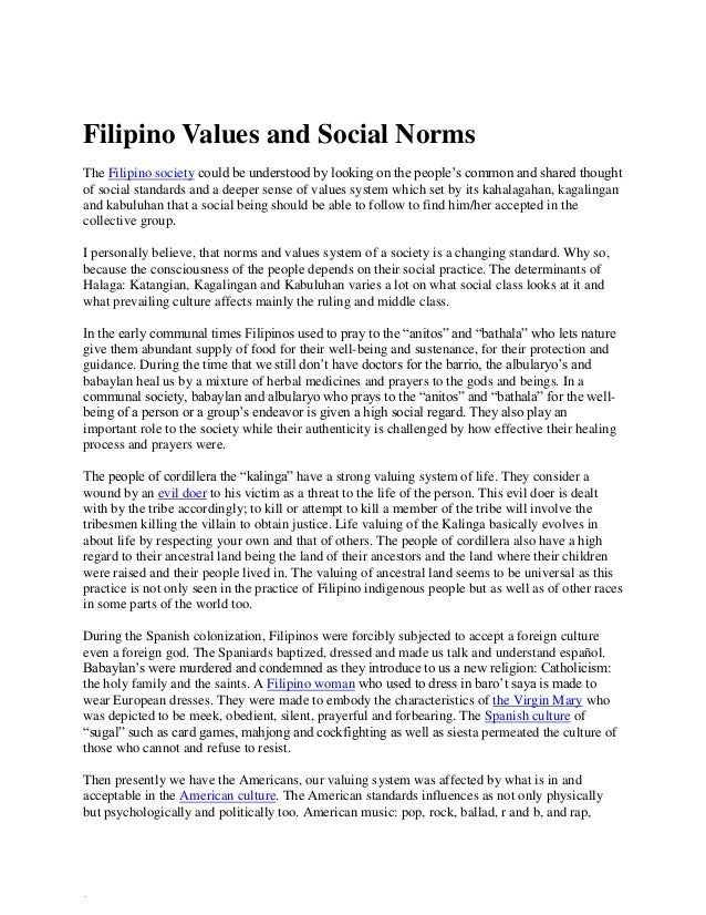 filipino culture values and its negative effect Impact of organizational culture on this article is on defining and measuring of organizational culture and its counter culture shared beliefs and values.