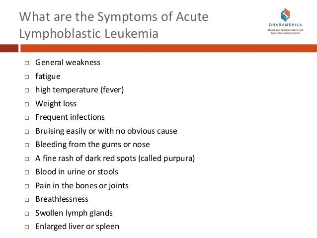 leukemia cancer and acute lymphoblastic leuk essay Patients with acute lymphoblastic leukemia (all) present with either symptoms relating to direct infiltration of the marrow or other organs by leukemic cells, or symptoms relating to the decreased production of normal marrow elements fever is one of the most common symptoms of all, and patients .