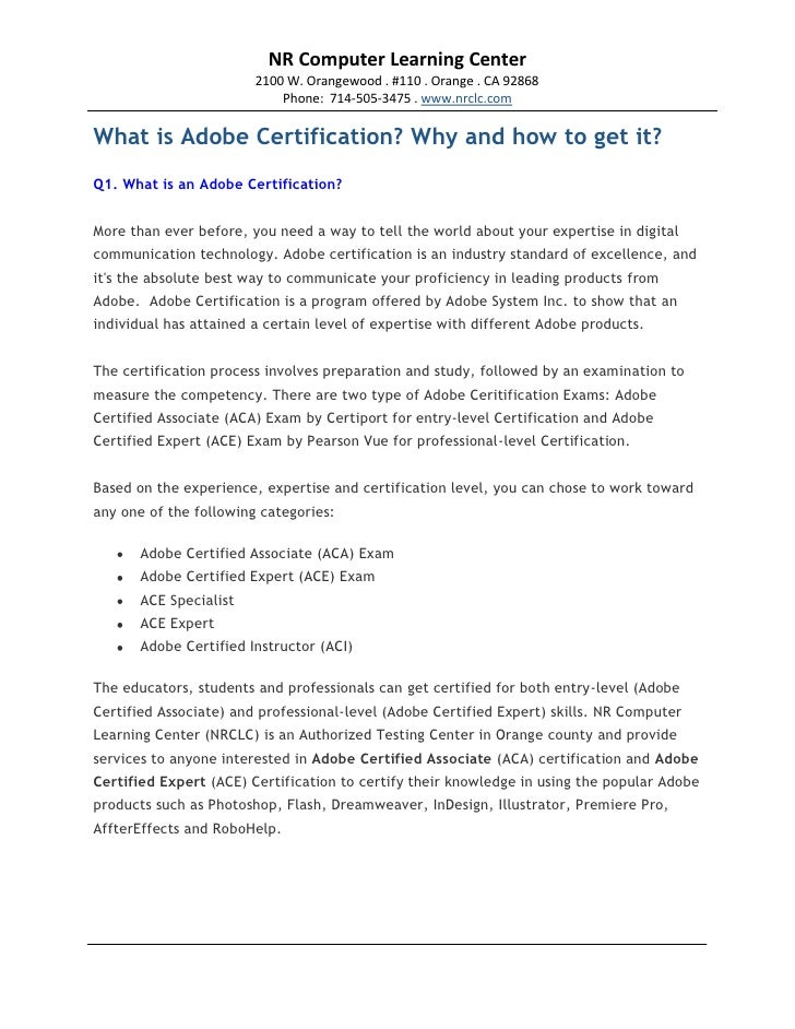 What is an adobe certification?