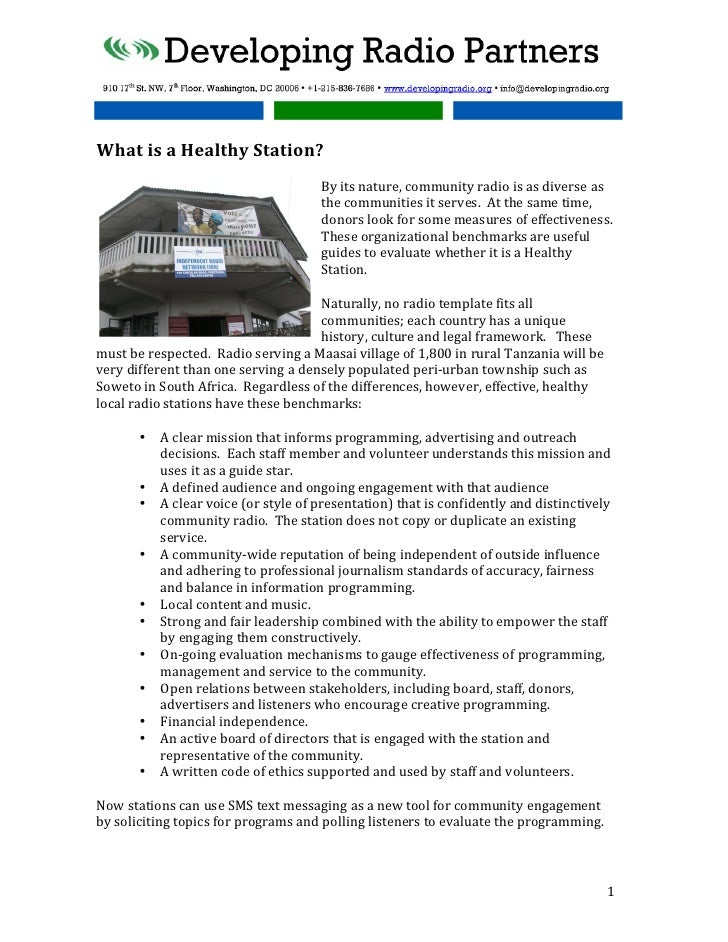 What is a Healthy Station?                                                                      By its ...