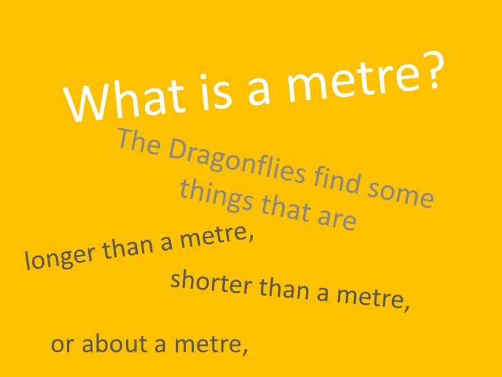 What is a metre?<br />The Dragonflies find some things that are<br />longer than a metre,<br />shorter than a metre,<br />...