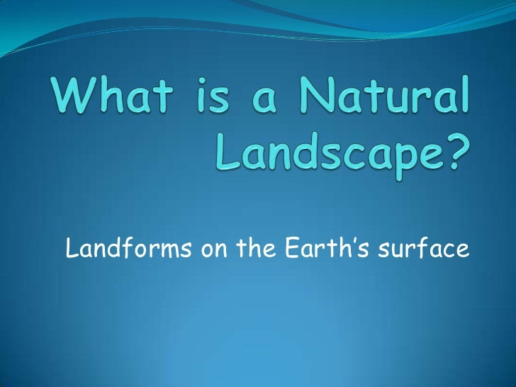 Landforms on the Earth's surface