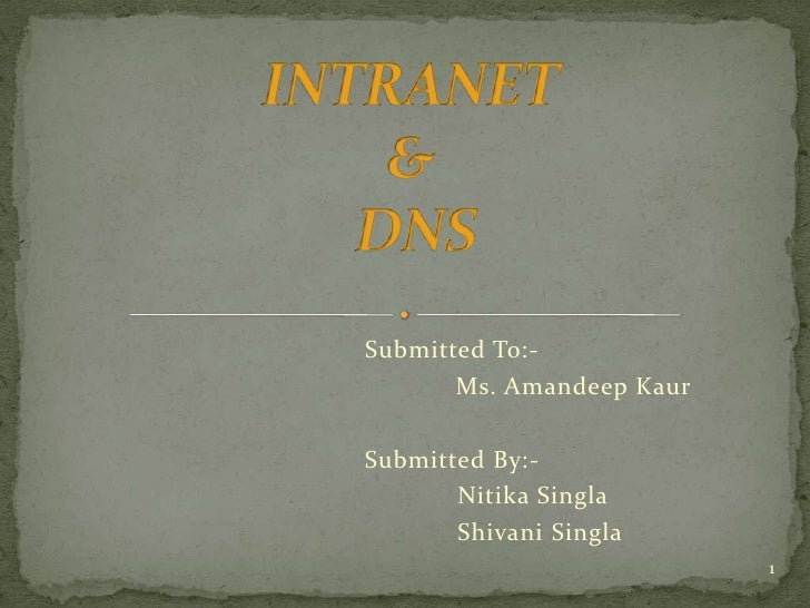 INTRANET & DNS<br />Submitted To:- <br />			Ms. AmandeepKaur<br />Submitted By:- <br />NitikaSingla<br />ShivaniSingla<br ...