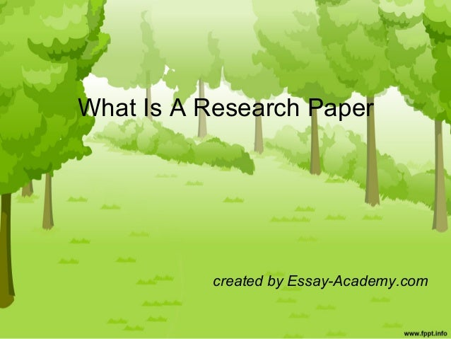What a research paper looks like