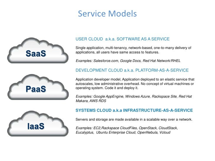 Service ModelsUSER CLOUD a.k.a. SOFTWARE AS A SERVICESingle application, multi-tenancy, network-based, one-to-many deliver...