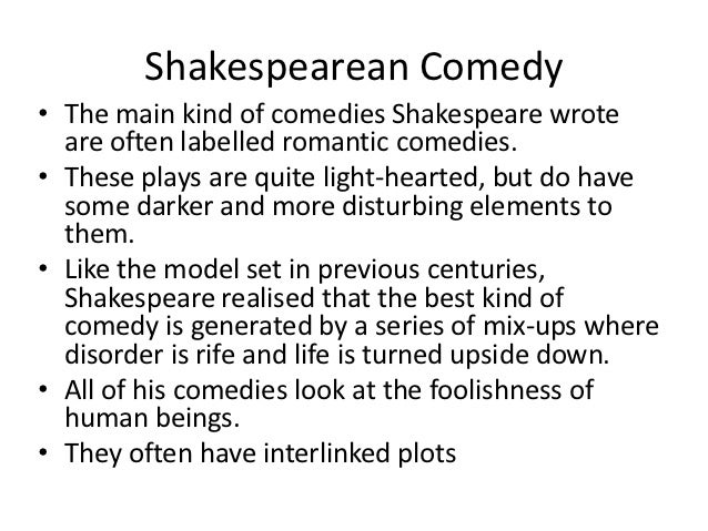 What are some specific elements of Shakespearean plays?