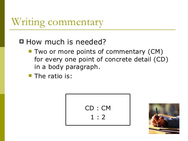 What to write in the commentary of a 5c essay