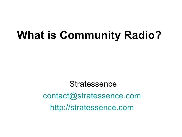 What Is Community Radio