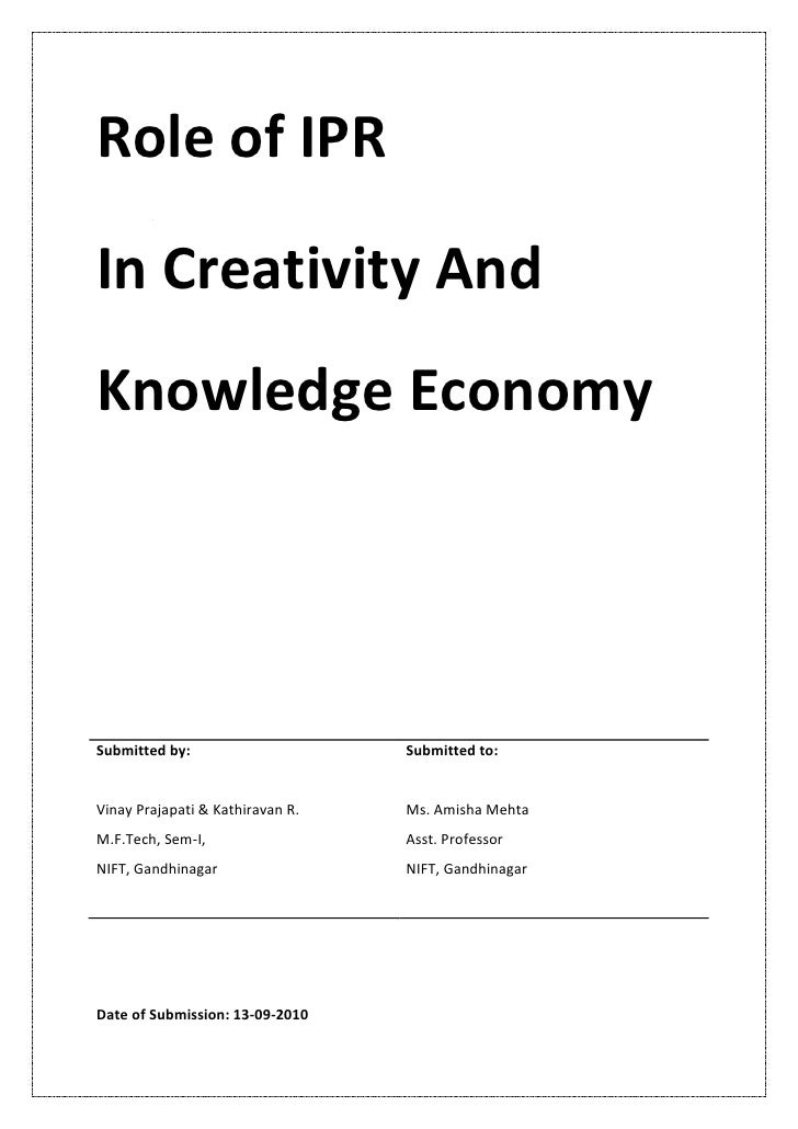 Role of IPR in Creativity & Knowledge Economy Documentation