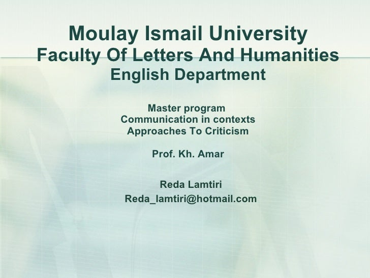 Moulay Ismail University Faculty Of Letters And Humanities English Department Master program  Communication in contexts Ap...