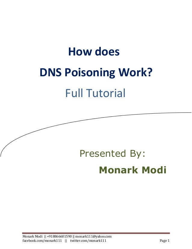 How DNS Poisoning works?