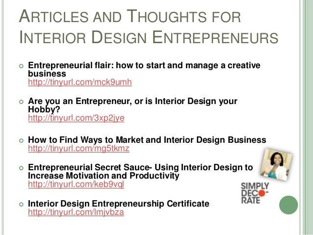 Entrepreneurship for interior designers for Marketing plan for interior design business