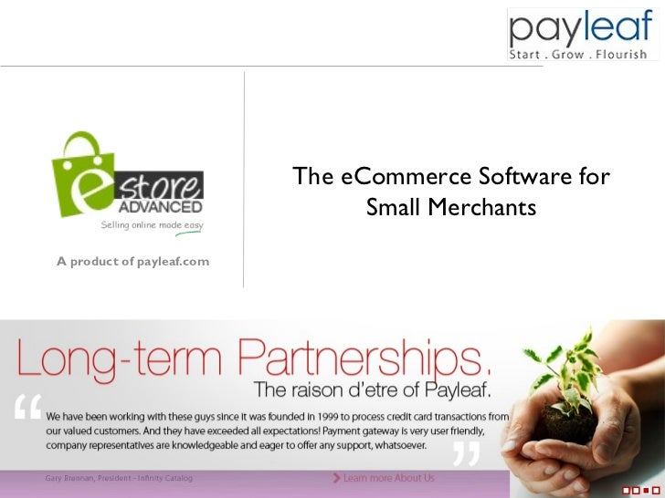 The eCommerce Software for                                                              Small Merchants    A product of pa...