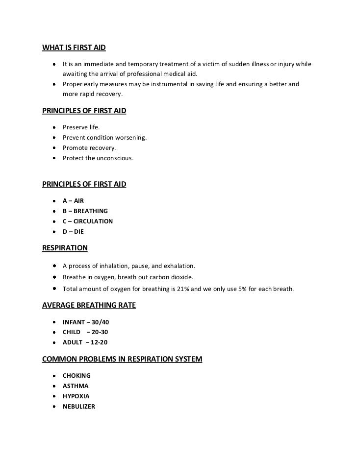 first aid description