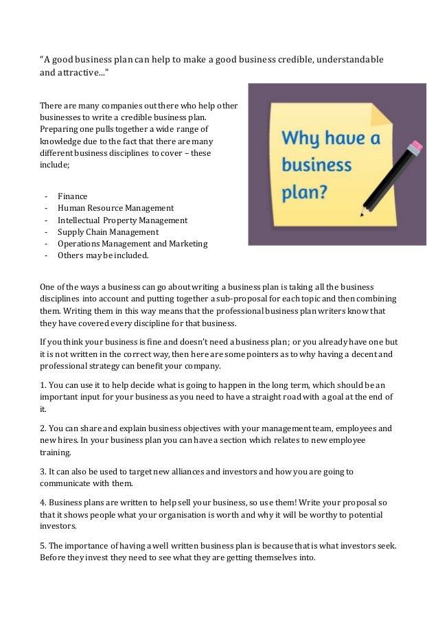 Whats a good business plan?