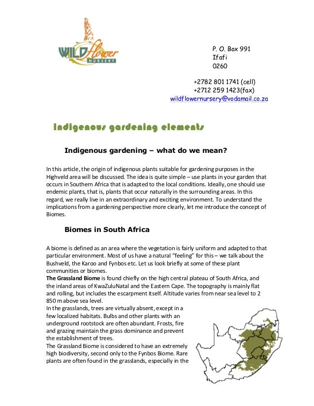 Indigenous Gardening - South Africa