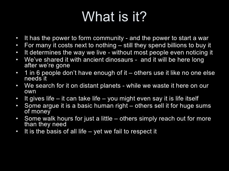What is it? <ul><li>It has the power to form community - and the power to start a war </li></ul><ul><li>For many it costs ...