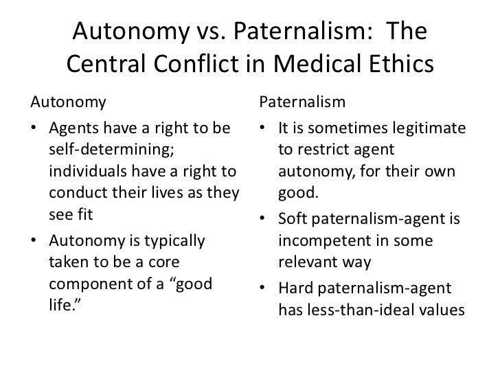 """autonomy vs paternalism Autonomy however it is cashed out, while soft paternalism does not feinberg  and many  21 arneson noted this feature of the right to autonomy in """"mill vs."""