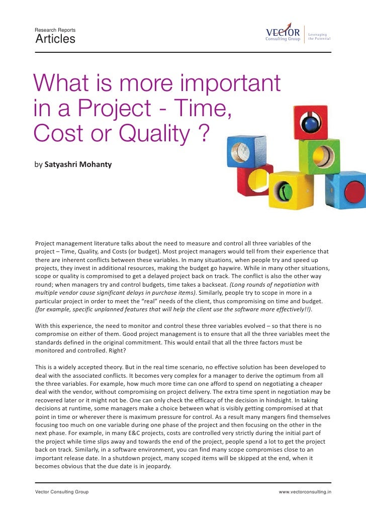 What is more important in projects – Time, cost or quality?