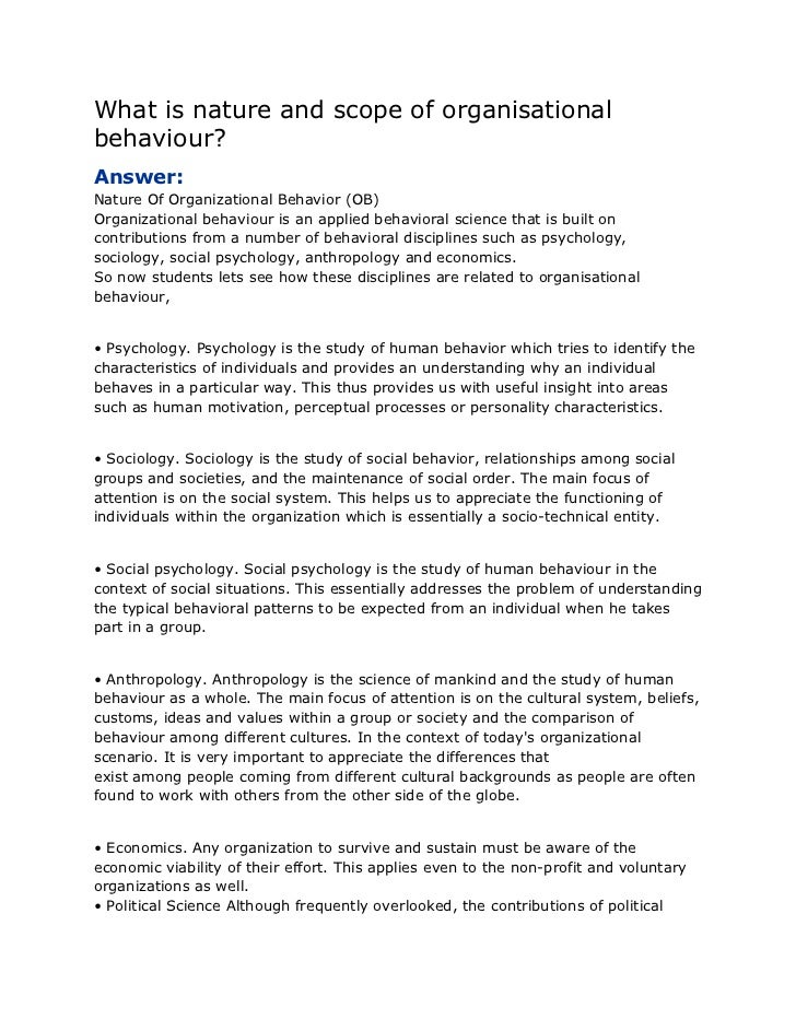 What is nature and scope of organisational behaviour