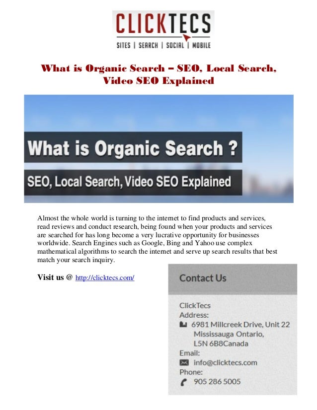 What is Organic Search – SEO, Local Search, Video SEO Explained
