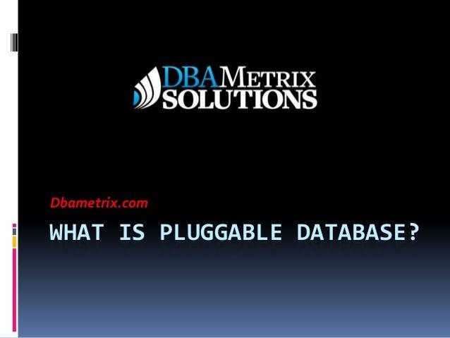 WHAT IS PLUGGABLE DATABASE? Dbametrix.com