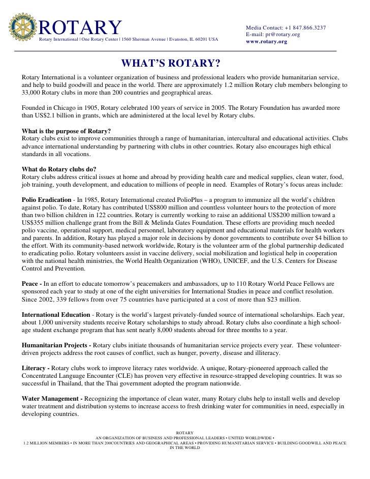 ROTARY       Rotary International   One Rotary Center   1560 Sherman Avenue   Evanston, IL 60201 USA                      ...