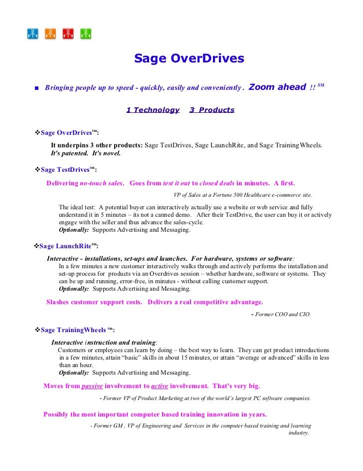 Sage OverDrives      ■ Bringing people up to speed - quickly, easily and conveniently SM.. That's new!!                   ...