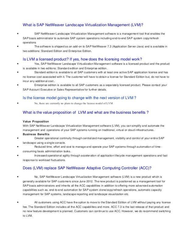 What is SAP NetWeaver Landscape Virtualization Management (LVM)? •  •  SAP NetWeaver Landscape Virtualization Management s...