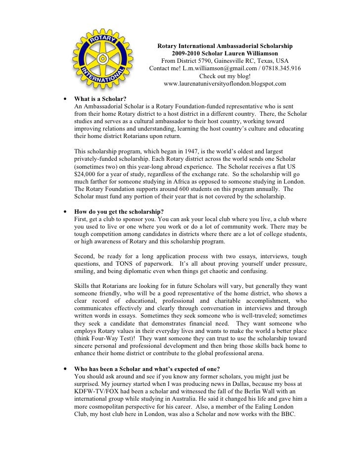 Rotary International Ambassadorial Scholarship                                          2009-2010 Scholar Lauren Williamso...