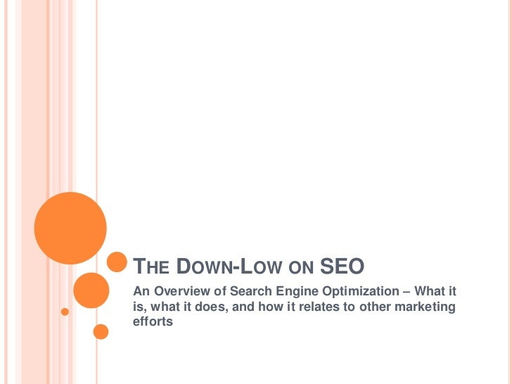 The Down-Low on SEO<br />An Overview of Search Engine Optimization – What it is, what it does, and how it relates to other...