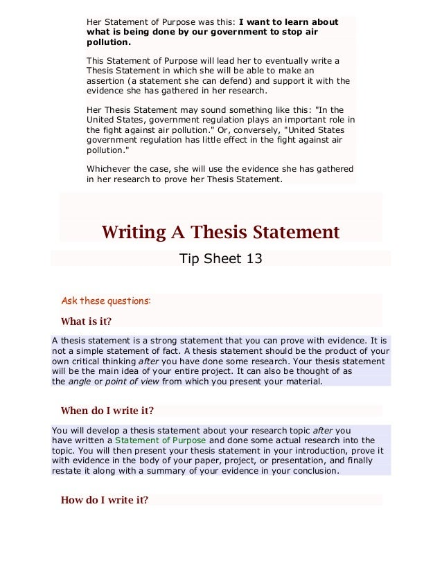 Research Paper Write Thesis Statement