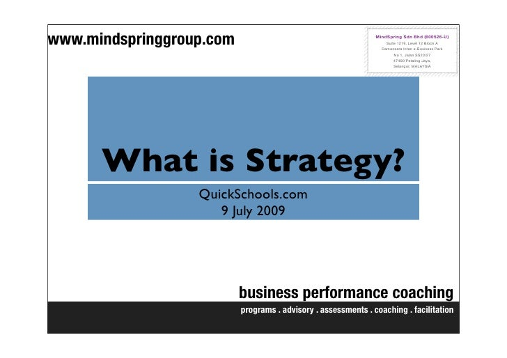 What Is Strategy Key