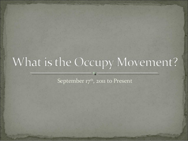 What is the occupy movement