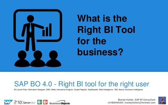 bi tutorial - Right bi tool for the business